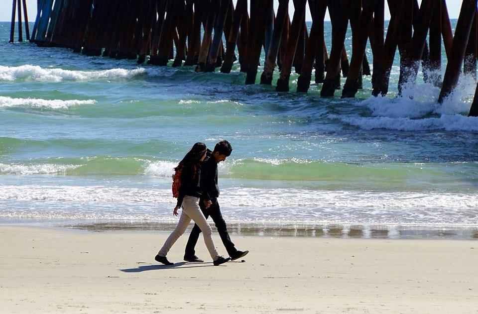 lovers walk Romantic Shores Of Rosarito Beach