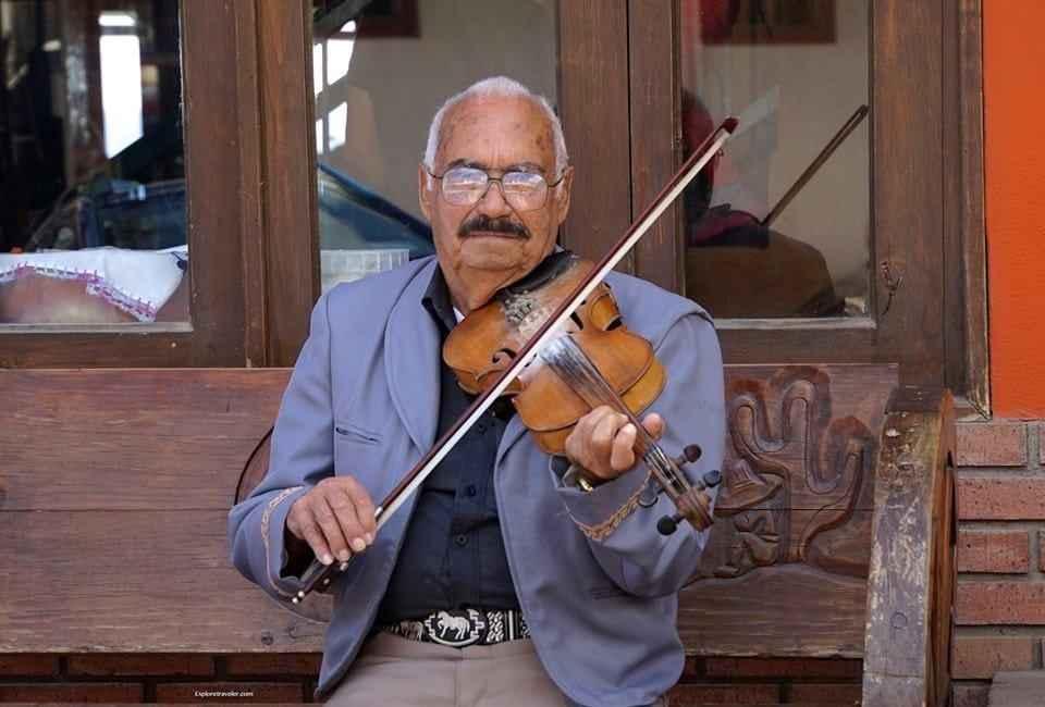 Man And His Violin In Baja California Mexico