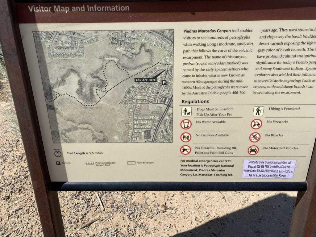Piedras Marcadas Canyon Trail Map