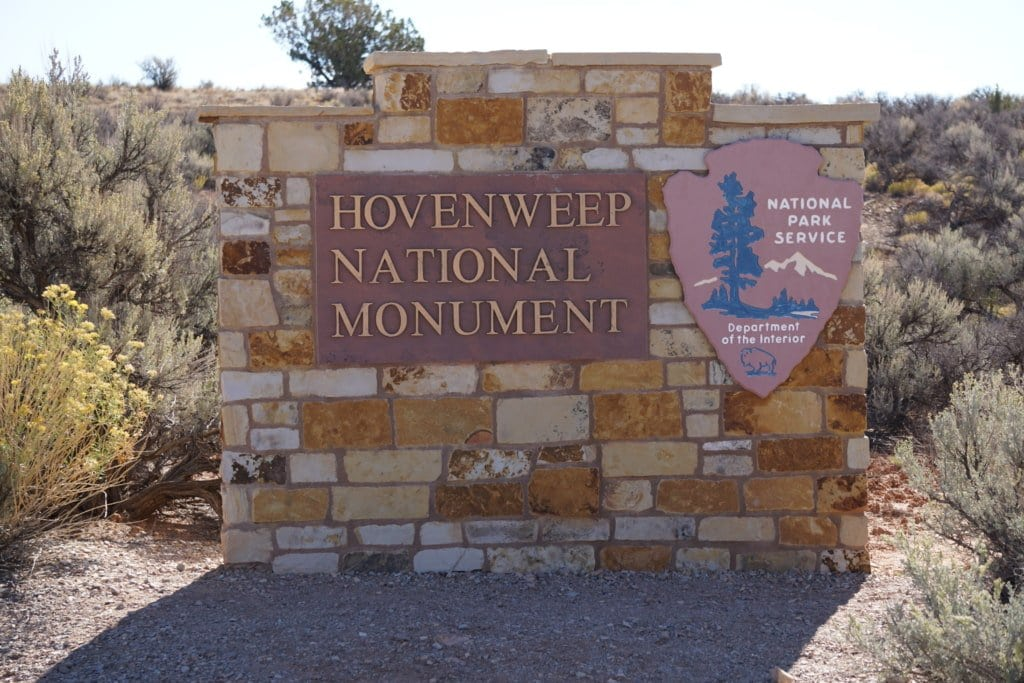 Hovenweep National Monument front sign.